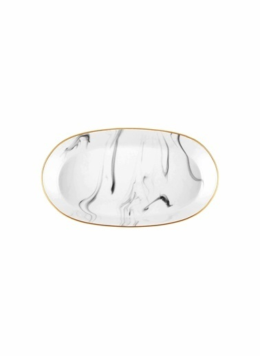 The Mia Lucid Oval Servis - 2li Set -15x25x4 Cm Gri Gri